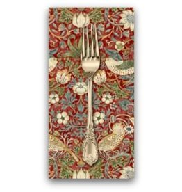 PD's William Morris Collection Morris & Co., Kelmscott Strawberry Thief in Red, Dinner Napkin