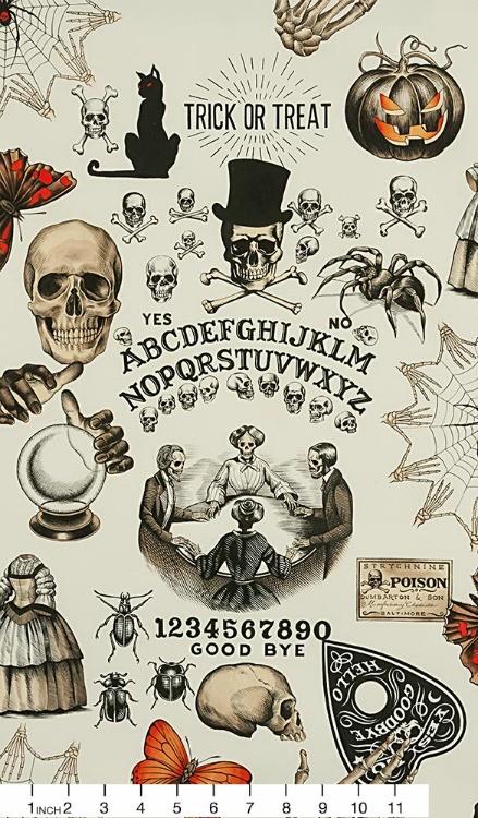 Alexander Henry Fabrics Haunted House, Seance in Tea with Orange Halloween, Fabric Half-Yards 8657A