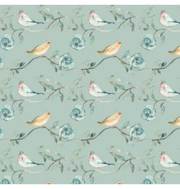 Shell Rummel Bloom Beautiful, Birdsong in Sage, Fabric Half-Yards PWSR017