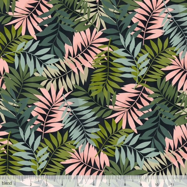 PD's Blend Fabrics Collection Leilani, Fern in Black, Dinner Napkin
