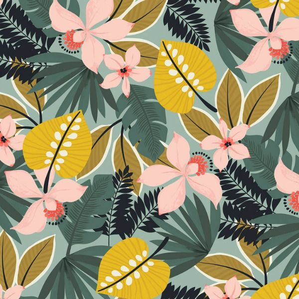 Maude Asbury Leilani, Hibiscus in Blue, Fabric Half-Yards 101.137.02.2