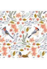 Rae Ritchie Let It Snow, Bird Wreath in White, Fabric Half-Yards SRR1020