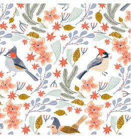 Rae Ritchie Let It Snow, Bird Wreath in White, Fabric Half-Yards SRR1020
