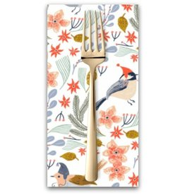 PD's Rae Ritchie Collection Let It Snow, Bird Wreath in White, Dinner Napkin