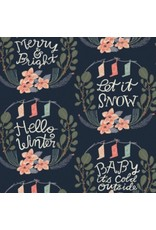 Rae Ritchie Let It Snow, Lettering Vignette in Pacifica, Fabric Half-Yards SRR1022