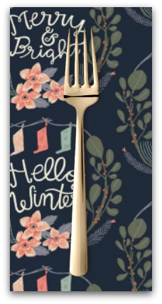 PD's Rae Ritchie Collection Let It Snow, Lettering Vignette in Pacifica, Dinner Napkin