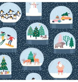 Dear Stella Waiting for Santa, Snow Globes in Multi, Fabric Half-Yards 1012