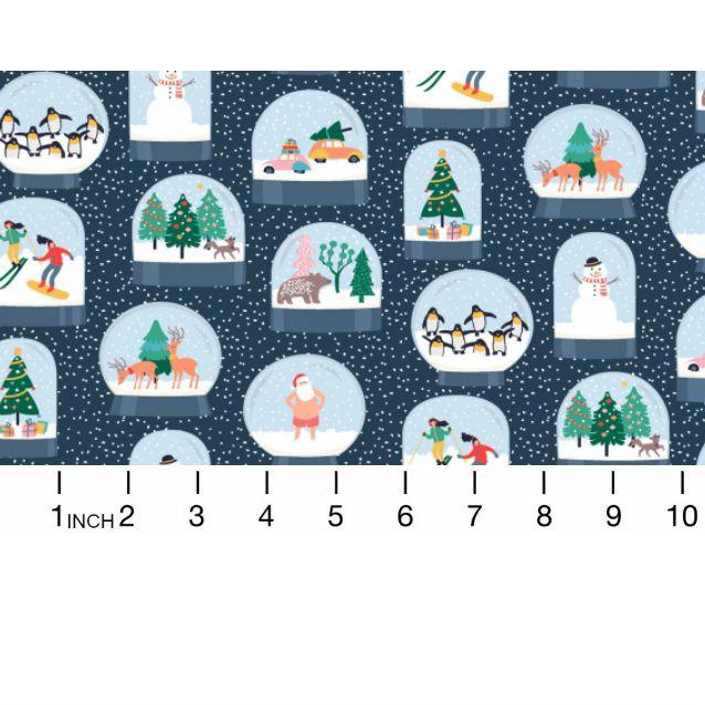 Dear Stella Waiting for Santa, Snow Globes in Multi, Fabric Half-Yards 1012