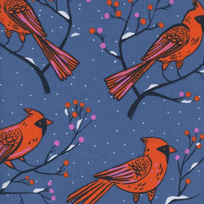 Cotton + Steel Frost, Winter Cardinals in Blue, Fabric Half-Yards C5185-001