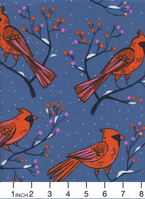 PD's Cotton + Steel Collection Frost, Winter Cardinals in Blue, Dinner Napkin