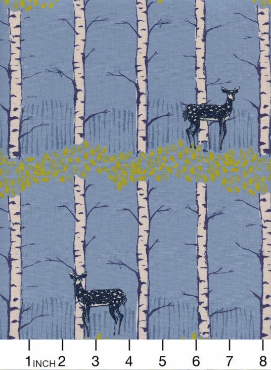 PD's Cotton + Steel Collection Frost, Fawn Forest in Blue, Dinner Napkin