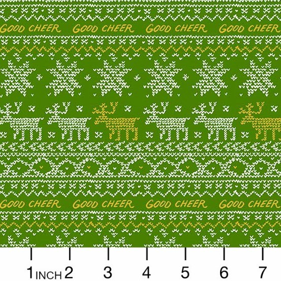 Andover Fabrics Good Cheer, Sweater in Evergreen, Fabric Half-Yards A-8713-MG