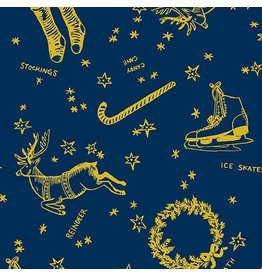 Andover Fabrics Good Cheer, Deck the Halls in Winter Night, Fabric Half-Yards A-8712-MB