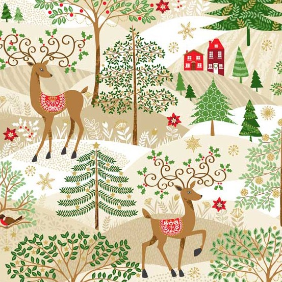 PD's Andover Collection Silent Night, Scenic Christmas in Cream, Dinner Napkin