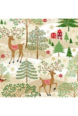 Andover Fabrics Silent Night, Scenic Christmas in Cream, Fabric Half-Yards A-1973-1