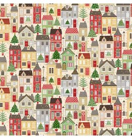 Andover Fabrics Silent Night, Houses in Multi, Fabric Half-Yards A-1977-1