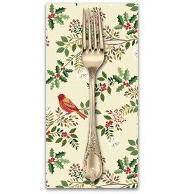 PD's Andover Collection Silent Night, Birds in the Brier in Cream, Dinner Napkin