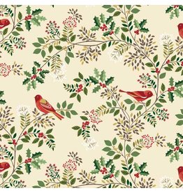 Andover Fabrics Silent Night, Birds in the Brier in Cream, Fabric Half-Yards A-1978-1