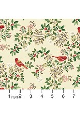 Andover Fabrics Silent Night, Birds in the Brier in Cream, Fabric Half-Yards A-1978-1