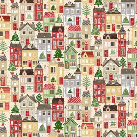PD's Andover Collection Silent Night, Houses in Multi, Dinner Napkin