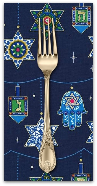 PD's Michael Miller Collection Festival of Lights, Peace, Love and Light for Hannukah in Royal, Dinner Napkin
