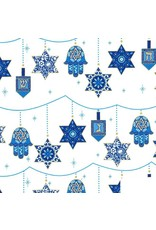 Michael Miller Festival of Lights, Peace, Love and Light for Hannukah in Starlight, Fabric Half-Yards CM7990