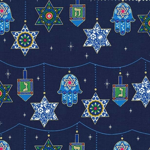 Michael Miller Festival of Lights, Peace, Love and Light for Hannukah in Royal, Fabric Half-Yards CM7990