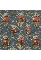 Alexander Henry Fabrics Santa Fe, Roping Ranch Scenic in Chambray, Fabric Half-Yards 8026D