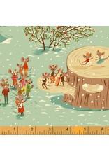 Heather Ross Sugarplum, Christmas Mice in Aqua, Fabric Half-Yards 50165