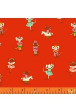 PD's Heather Ross Collection Sugarplum, Nutcracker Mice in Red, Dinner Napkin