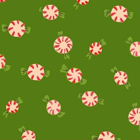 Heather Ross Sugarplum, Peppermints in Green, Fabric Half-Yards 50167