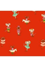 Heather Ross Sugarplum, Nutcracker Mice in Red, Fabric Half-Yards 50166