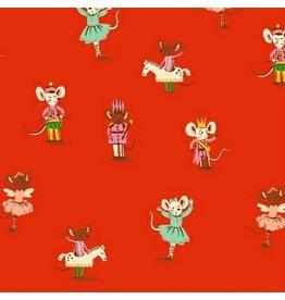 Heather Ross Sugarplum, Nutcracker Mice in Red, Fabric Half-Yards 50166