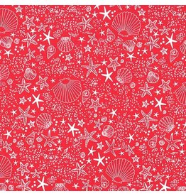 Michael Miller Just Shellin, Seashore in Red, Fabric Half-Yards DC8172