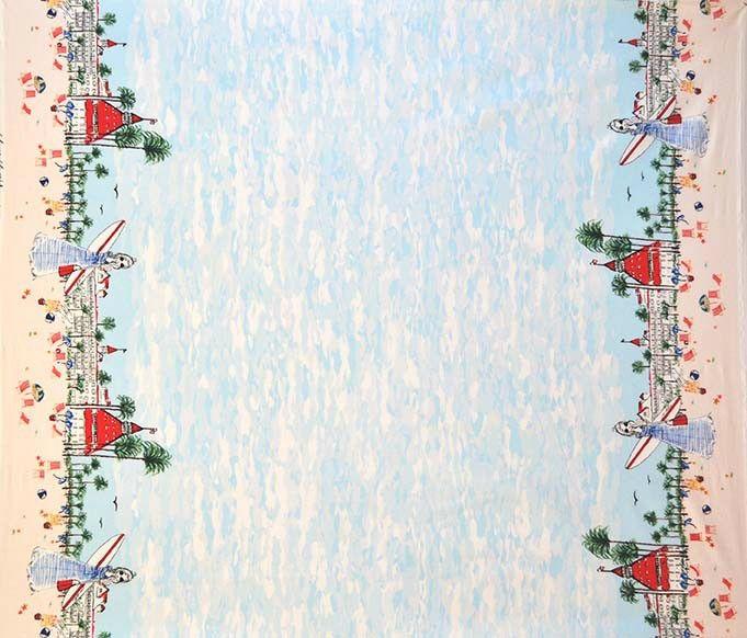 Michael Miller Just Shellin, Seaside Border in Blue, Fabric Half-Yards DC7828
