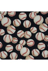 Alexander Henry Fabrics Nicole's Prints, Baseball in Navy, Fabric Half-Yards 6014ER
