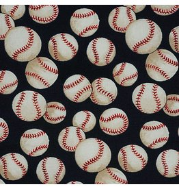 Alexander Henry Fabrics Nicole's Prints, Baseball in Navy, Fabric Half-Yards 6014ER