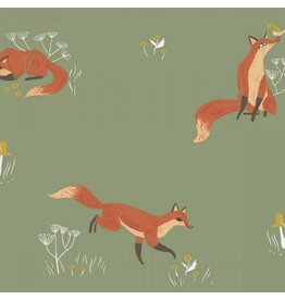 Rae Ritchie Camp Wander, Fox in Aloe, Fabric Half-Yards STELLA-SRR1008