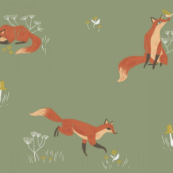 Rae Ritchie Camp Wander, Fox in Aloe, Fabric Half-Yards STELLA-SRR1008