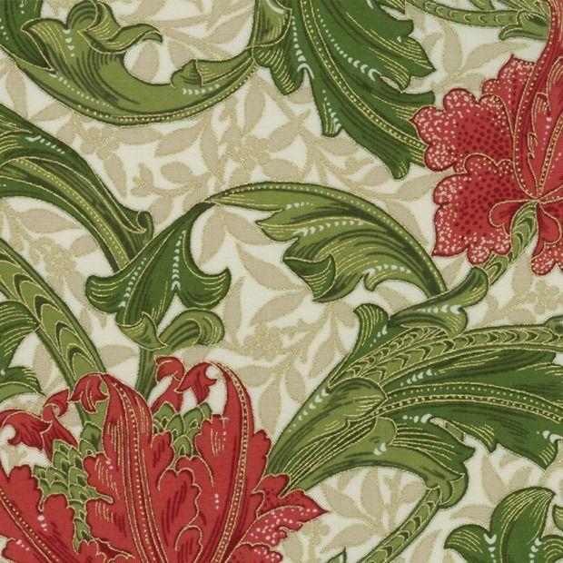 William Morris & Co. Morris Holiday, 1905 Single Stem in Linen with Metallic, Fabric Half-Yards 7310 11M
