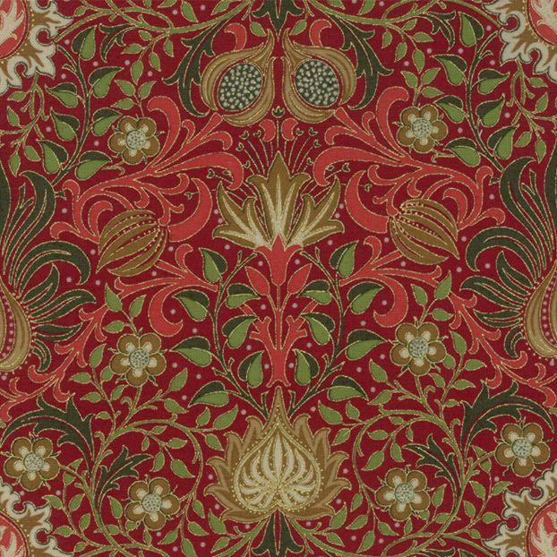 William Morris & Co. Morris Holiday, 1904 Persian in Crimson with Metallic, Fabric Half-Yards 7311 14M