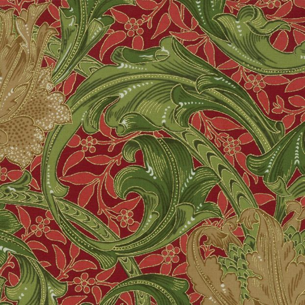 William Morris & Co. Morris Holiday, 1905 Single Stem in Crimson with Metallic, Fabric Half-Yards 7310 14M