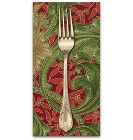 PD's William Morris Collection Morris Holiday, 1905 Single Stem in Crimson, Dinner Napkin