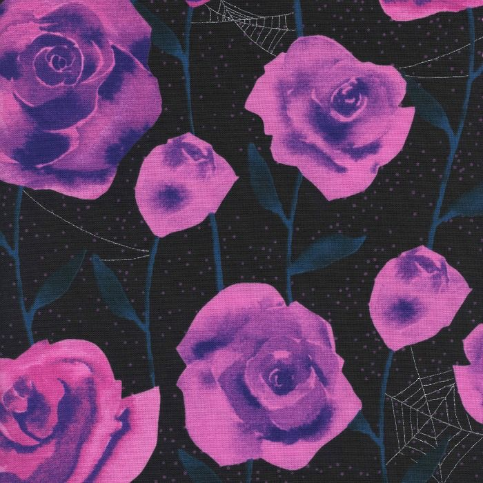 Cotton + Steel Eclipse, Roses in Black with Metallic, Fabric Half-Yards  C5196-001