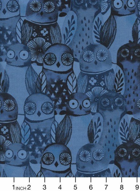 Cotton + Steel Eclipse, Wise Owls in Blue, Fabric Half-Yards  C5195-002