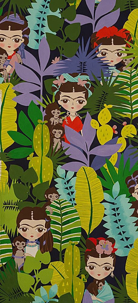Alexander Henry Fabrics Folklorico, Ella Con Changos in Navy (She with the Monkeys), Fabric Half-Yards 8672AR