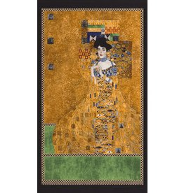 "Robert Kaufman Gustav Klimt, Portrait Of Adele Bloch Bauer 1, Panel in Gold, 24"" Fabric Panel"