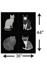 "Gingiber Catnip, Catnip Panel in Black, 36"" Fabric Panel 48230 14"