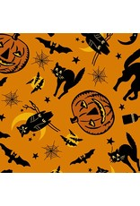 Andover Fabrics Haunting, Halloween in Orange, Fabric Half-Yards A-8842-O
