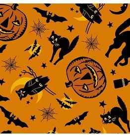 Andover Fabrics Haunting, Halloween in Orange, Fabric Half-Yards A-8842-O